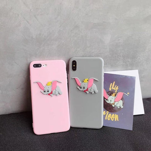 Cute 3D animal cartoon disneys Dumbo silicone soft phone case for iphone X XR XS MAX 6S 7 8 Plus