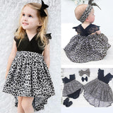 0-7Y Baby Girl Clothes Leopard Suit Lace Ruffles Sleeve Romper Dress + Headband 2pcs Outfit - Outfitter Style