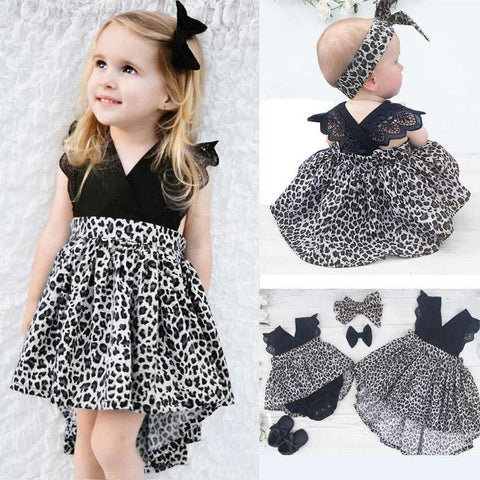 0-7Y Baby Girl Clothes Leopard Suit Lace Ruffles Sleeve Romper Dress + Headband 2pcs Outfit