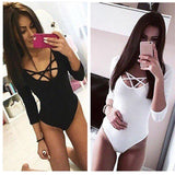 Bodysuit Bodycon Lady Leotard Body Tops Jumpsuit Clubwear V Neck Hollow out