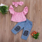 Toddler Kids Girl Clothes Summer Off shoulder Pink T-shirt Tops+Hole Net Jean Denim Pant Headband 3PCS