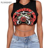 Sexy Print Gun Rose Body Chain Women Fashion O Neck Party Shirt - Outfitter Style