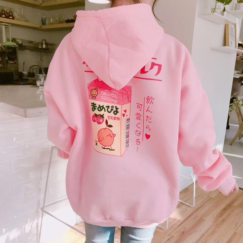 Cute Cartoon Printed Back Velvet Thick Hooded Female Sweatshirts