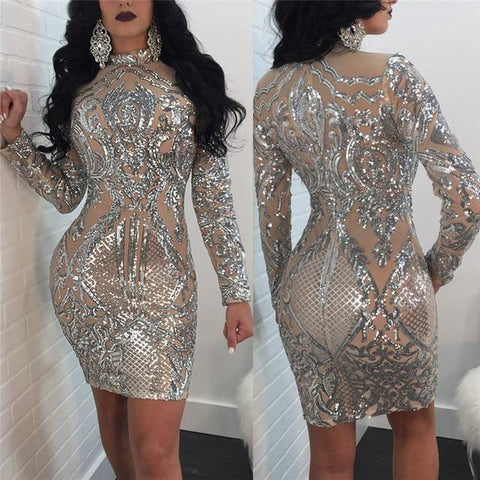 Women Sequin Dress Silver Sparkly Dress Elegant Sexy Night Club Celebrity Glitter Party Dress