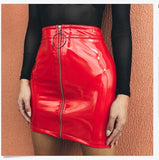 High Waist Zip Faux Leather Short Pencil Bodycon Mini Skirt