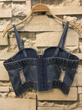 Hole Push Up Denim Bustier Crop Top Womens Ripped