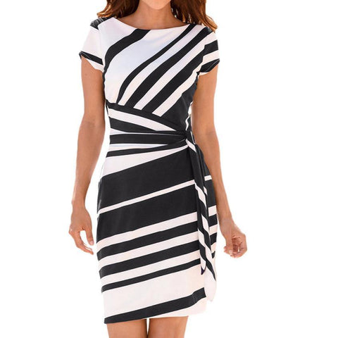 Women's Working Pencil Stripe Party Casual O-Neck Mini high quality dress