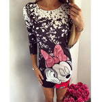 Cute Cartoon Printing Summer Dress O Neck Elegant Mini Casual Ladies Dress
