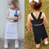 Summer Toddler Kids Baby Girl Crop Tops+Long Skirt 2PCS Outfits Solid Color Children Girls Clothing Set