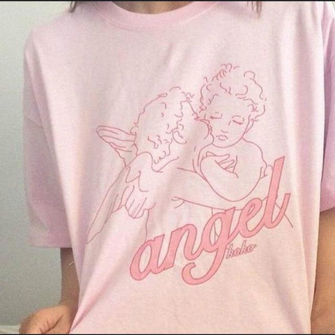 Angel Printed Women T Shirts Summer - Outfitter Style