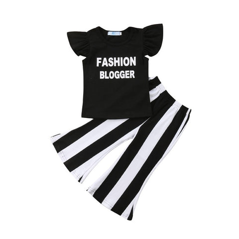 Toddler Girls Ruffle letter print pullover T-Shirts