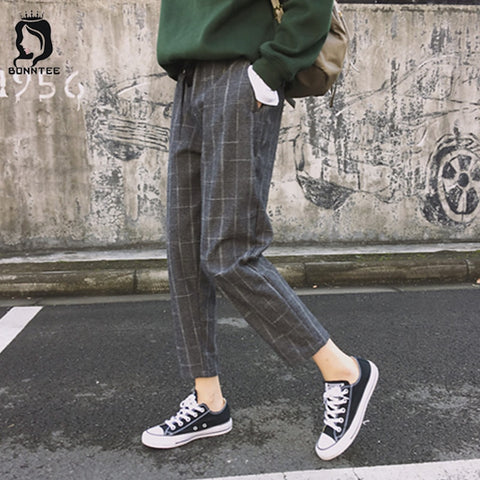 Plaid Womens Loose Casual Female High Waist Pant Retro