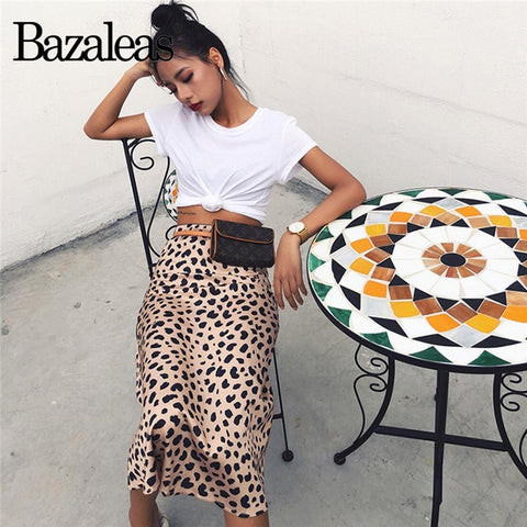 Vintage High Waist Midi Skirts Leopard Pattern Women Skirt