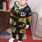 Boys Coat Clothing Sets Toddler Blue Starry Sky Print Clothes Kids Sport Suits Hoodies Coat+Pant 2 pcs