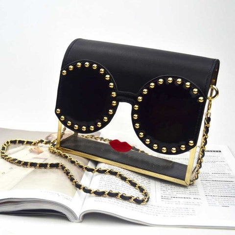 Red Lips rivet Designer Metal retro Shoulder Bags Transparency