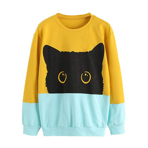 Lovely Cat Casual Sweatshirt O-Neck Color Block Pullover
