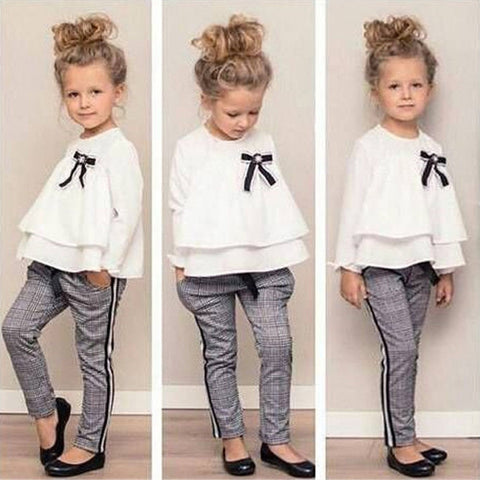 Toddler Baby Kids Girls Outfits Ruffle T Shirt Tops Checked Pants Clothes