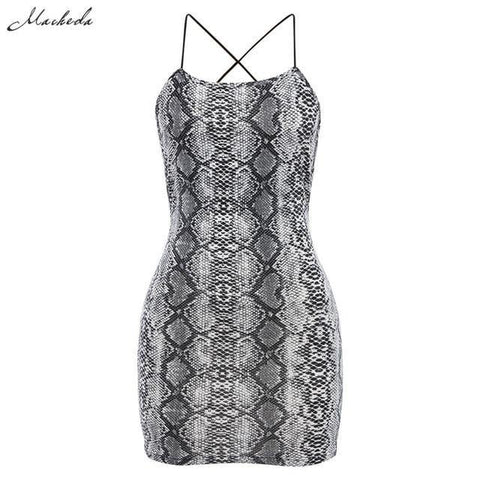 Sexy Cross Bandage Backless Bodycon Dress Women Sleeveless Halter Summer Dress Snake Print