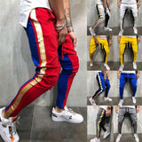 Men Slim Fit Trousers Tracksuit Bottoms Striped Skinny Joggers Long Sweat Pants