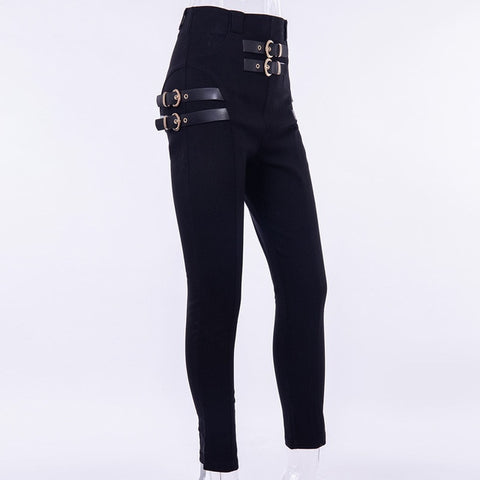 High Waist Pencil Buckle Pants Women Slim Solid Streetwear Elegant