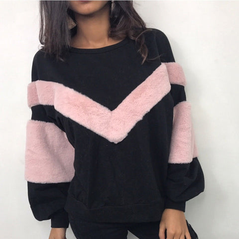 Women Plush Sweatshirt Stitching Long Sleeve Patchwork Pullover