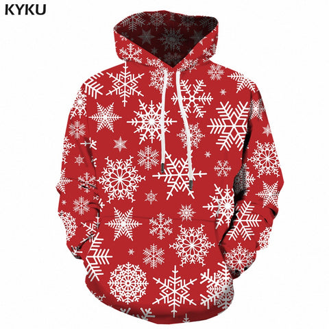 Christmas Hoodies Men Sweatshirt Red Hip Hop 3d Print Hoodie Xmas Snowflake Sweatshirt