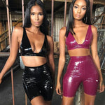 Pu Leather Sexy Club Bodycon 2 Piece Set Crop Top And Shorts Workout