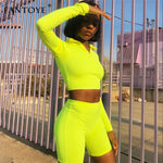 Two Piece Set Top Shorts Suit Sexy Turtleneck Sport Suit
