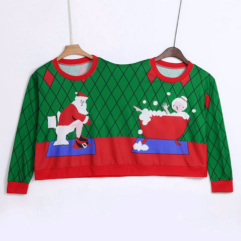 Winter Couples Sweater Two Person Unisex Pullover Sweater Novelty Christmas