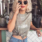 Silver Shiny Lurex Knitted T Shirts Women