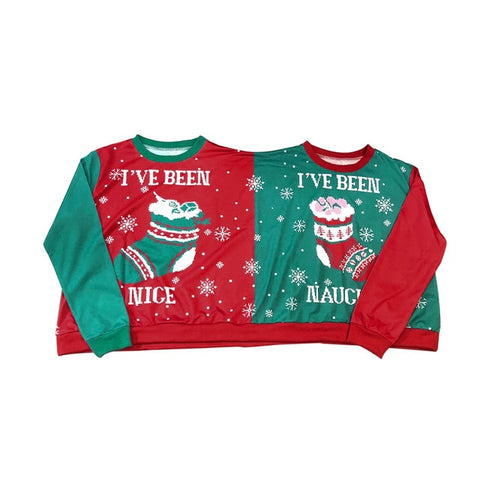 Two Person Letter Print Xmas Couples Pullover Novelty Christmas Sweatshirt