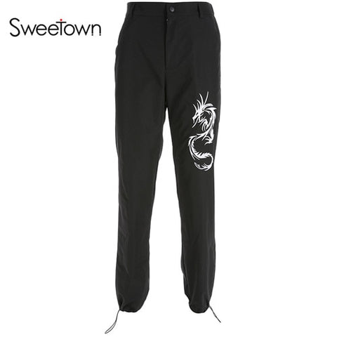 Chinese Style Dragon Embroidery Cargo Pants Women Black High Waist Pocket