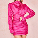 Women O-neck Full Sleeve Pleated Mini Dress Sexy Silky Slim Clubnight Party Dress Elegant