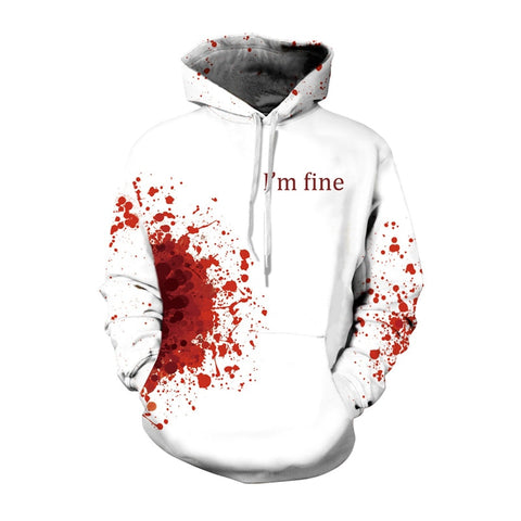 Horror Wound 3D Hoodie I AM FINE Print Hoddies Hooded Christmas