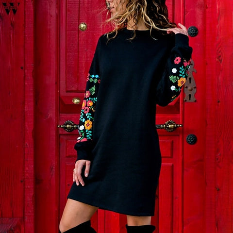 Women Casual Long Sleeve Floral Embroidery Sweatshirt Dress Party Wear