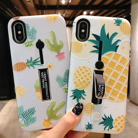Hide Ring Stand Holder Case For iPhone 7 8 6 6s Plus Pineapple