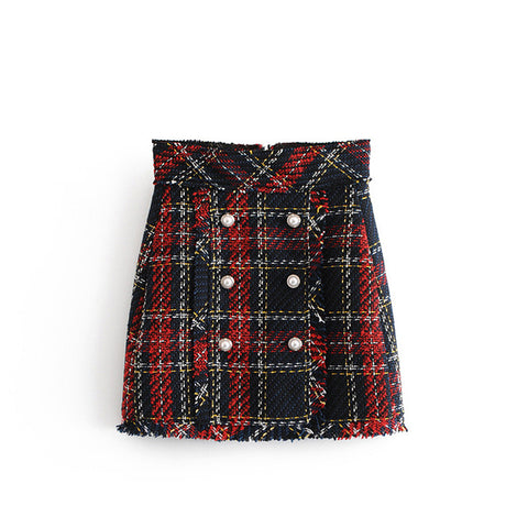 Faux Pearl Fringe Tweed Plaid Mini Skirt