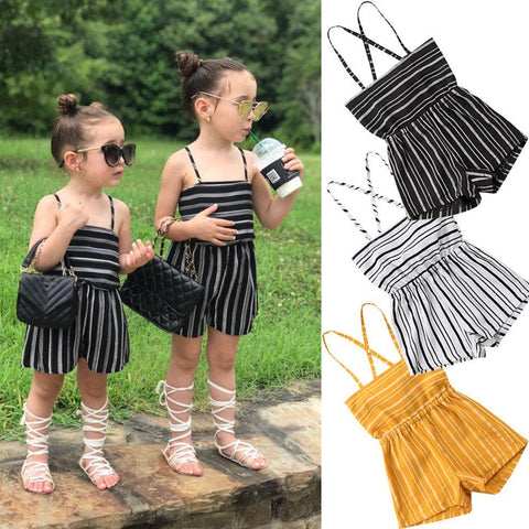 Summer Baby Girls Rompers Toddler Kids Girls Off Shoulder Backless Jumpsuit Clothes Striped Fashion