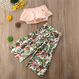 Toddler Girls Princess Outfits Off Shoulder Solid Tank Tops Floral Belt High Waist Pants Set