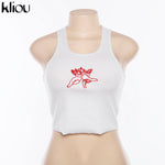 lovely crop tank tops Cupid Embroidery knitted top tee