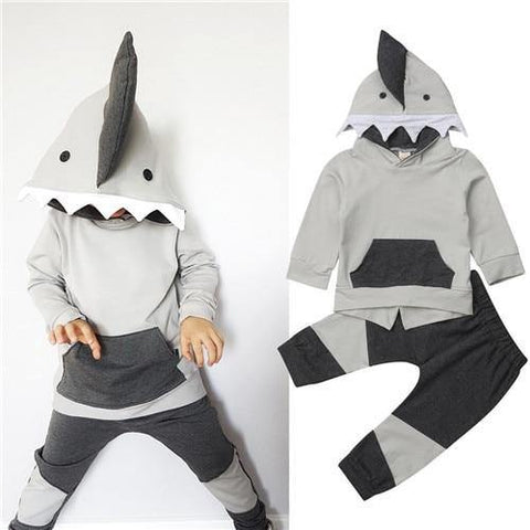 6M-4Y Toddler Kids Baby Boy Shark Hooded Tops Sweatshirt Pants Outfits 2Pcs Set