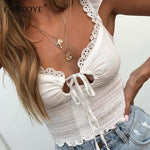 Ruffle Lace Up Sexy Spaghetti Bralette Crop Tops