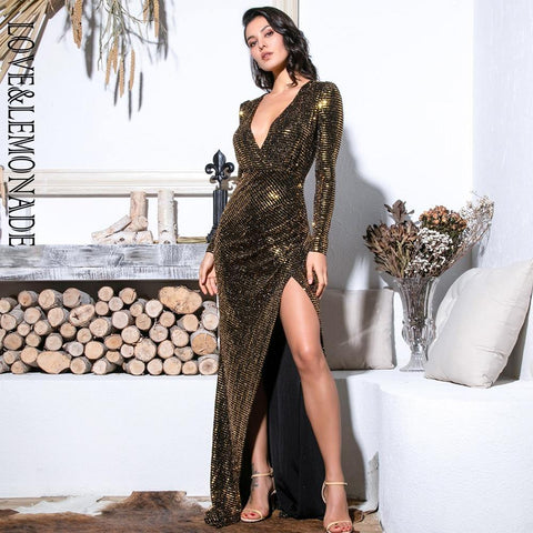 Sexy Gold Deep V-Neck Cut Out Puff Sleeves Glitter Sequins Elastic Material Maxi Dress