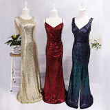 Ever Pretty Mermaid Burgundy Red Sexy Evening Dresses Sequined Sparkle Plus Size Party Gowns