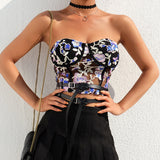Embroidery Crop Top Women Strapless Black Mesh Tube Top