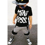 2 pieces Toddler Boy Clothes Mini Boss Print T Shirt Top and Pants Set Children Baby Boy Outfit