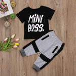 2 pieces Toddler Boy Clothes Mini Boss Print T Shirt Top and Pants Set Children Baby Boy Outfit - Outfitter Style