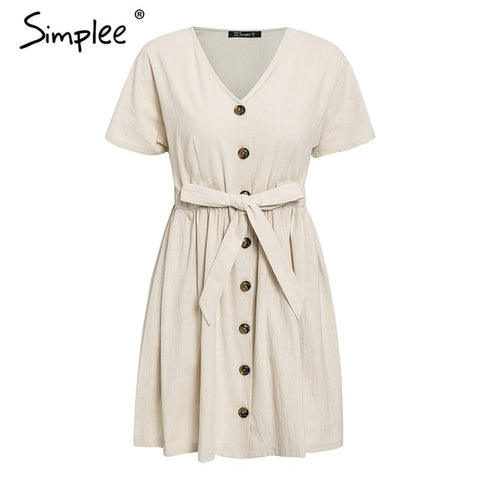 Vintage button women dress shirt V neck short sleeve cotton linen short summer dresses