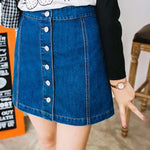 A-Line Denim Skirts Single Breasted Jeans Skirts High Quality Jeans Skirt