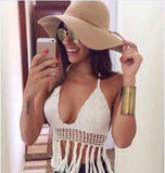 Sexy Crochet Knit Crop Top Tassel Halter Bra Bralette Deep V-neck